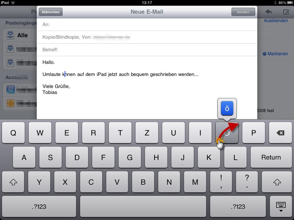 iPad Schreiben von Umlauten