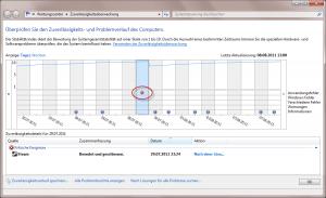 Zuverlässigkeitsverlauf unter Windows 7